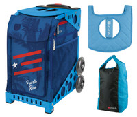 Zuca Sport Bag - Puerto Rico  with Gift Stuff Sack and Seat Cover (Blue Frame)