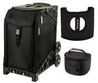 Zuca Sport Bag - Stealth with Gift Lunchbox and Seat Cover (Black Non-Flashing Wheels  Frame)