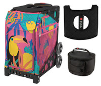 Zuca Sport Bag - Toucan Dream with Gift Lunchbox and Seat Cover (Black Non-Flashing Wheels  Frame)