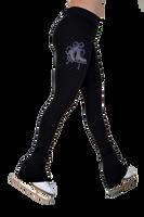 "ChloeNoel P622F All Black 3"" Waist Band Light Weight Fleece Pants w/ Mini Blue Ribbon Crystals"
