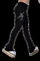 "ChloeNoel P622F All Black 3"" Waist Band Light Weight Fleece Pants w/ Mini Skating Crystals Combination"