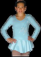 ChloeNoel DLP728 Plain Solid Sanded Poly Spandex Dress Light Blue w/ Ribbon Skate Flakes