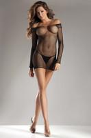 Industrial Net Long Sleeve Mini Dress