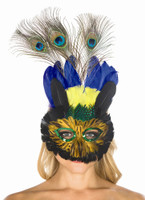 Black, Blue, Green and Yellow Feather Mask