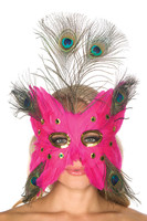 Hot Pink Peacock Feather Mask