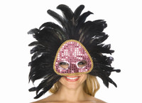 Black Feather and Pink Sequin Mask