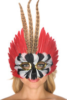 Black, White, Brown and Red Feathers Mask