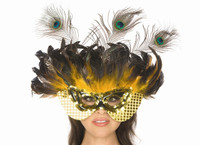 Yellow and Gold Feather Mask