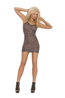 Brown Leopard Print Mini Dress