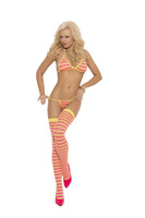 Pink and Yellow Striped Bra, Thong and Stocking Set