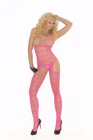 Neon Striped Crotchless Bodystocking
