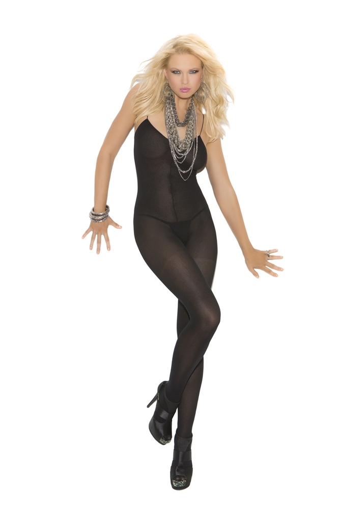 Sexy Elegant Moments Black White Nude Opaque Crotchless Bodystocking Hosiery-7523