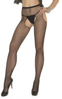 Black Fishnet Suspender Pantyhose