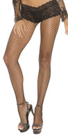 Fence Net Pantyhose with Lace Panty Top