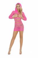 Hooded Fishnet Cupless Mini Dress
