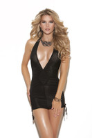 Deep V Halter Mini Dress