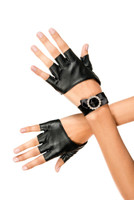 Fingerless Gloves with Rhinestone Ribbon Cuff
