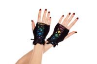 Rainbow Sequin Corset Gloves