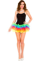 Rainbow Bottom Black Tutu Mini Dress