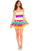 Rainbow Striped Tutu Mini Dress