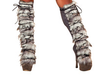 Lace-Up Furry Leg Warmers