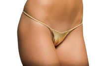 Metallic Low Cut Thong Bikini Bottoms