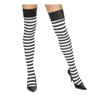 Black and White Horizontal Striped Thigh Highs