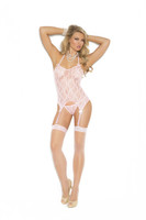 Pink Lace Camisette, G-String and Stockings Set