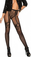 Fishnet and Lace Crochet Faux Thigh High Pantyhose