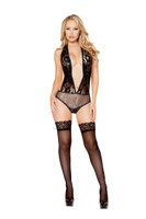 Plunging Backless Glitter and Lace Teddy