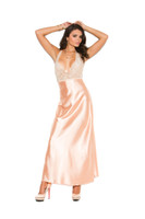 Nude Halter Lace and Charmeuse Gown