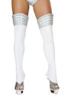 White Iridescent Space Girl Leg Warmers