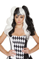 Black and White Ponytail Wig