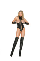 Lace Up Cupless Leather Teddy