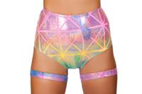 High Waisted Rainbow Laser Shorts