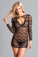 Backless Lace Long Sleeve Mini Dress