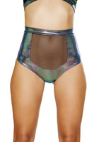 High Waisted Mesh Front Iridescent Shorts