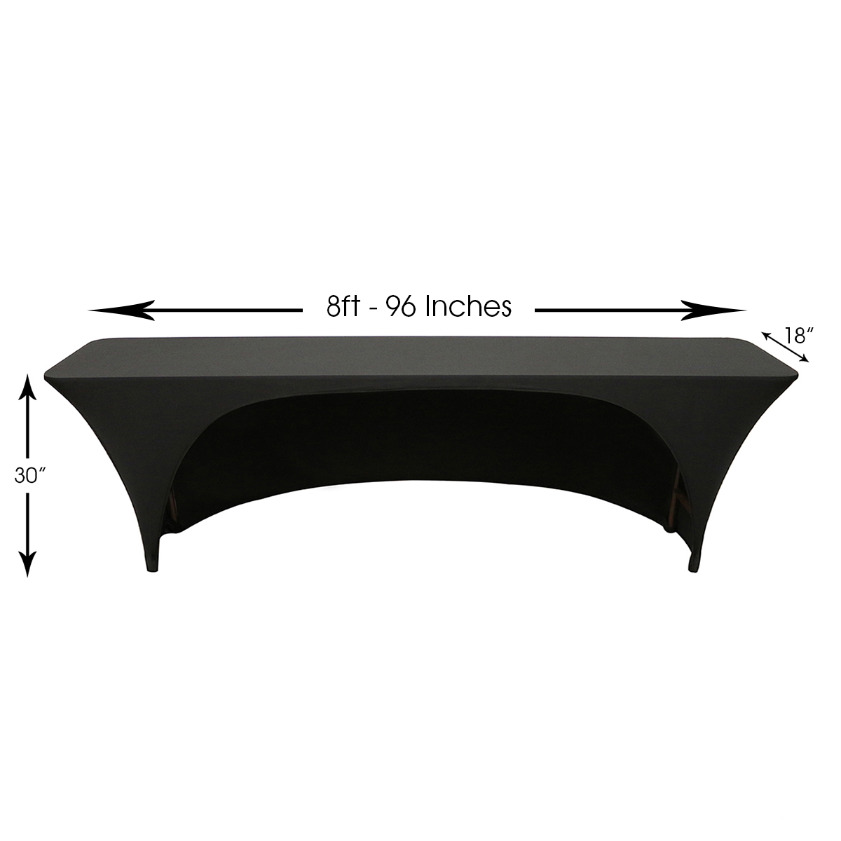 8 ft x 18 inches open back classroom rectangular spandex table covers. Black Bedroom Furniture Sets. Home Design Ideas
