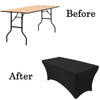 5 ft rectangular tablecloth spandex before after