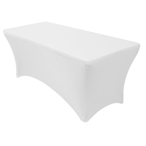 Stretch Spandex 5 ft Rectangular Table Cover White