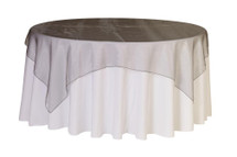 72 inch Square Organza Table Overlays Dark Silver