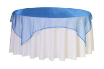 72 inch Square Organza Table Overlays Royal Blue