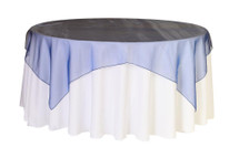 72 inch Square Organza Table Overlays Navy Blue