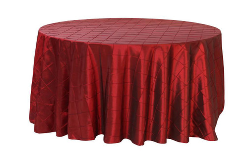 120 Inch Pintuck Taffeta Round Tablecloths Burgundy