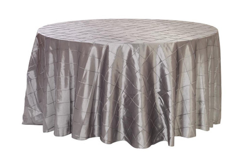 120 inch pintuck taffeta round tablecloth dark silver for 120 inch round table cloths