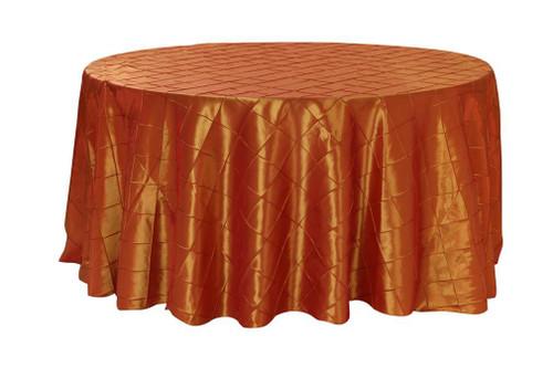 120 Inch Pintuck Taffeta Round Tablecloths Burnt Orange