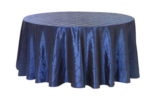 120 inch pintuck taffeta round tablecloth navy blue your for 120 inch round table seats how many