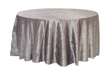 132 Inch Pintuck Taffeta Round Tablecloths Dark Silver / Platinum