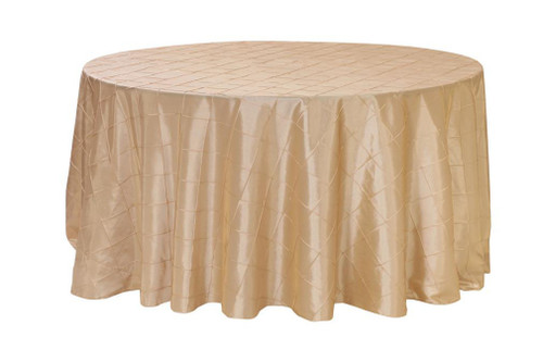 132 Inch Pintuck Taffeta Round Tablecloths Champagne