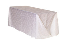 90 x 132 inch Pintuck Taffeta Rectangular Tablecloths White